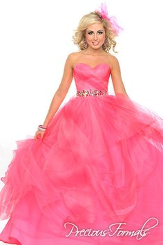 Precious Formals Style P20967 A beautiful tradition ball gown with layers of illusion and a stunning jeweled waistband.
