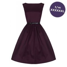 Swing Audrey lange jurk donkerpaars - Vintage, 50's, Rockabilly, retro