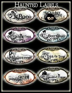 These Oval Halloween Labels are filled with Seasonal Silhouettes and Word Art for your Halloween Decorating They measure from in Length and in Height The Labels would be great used Halloween Apothecary, Halloween Potions, Halloween Bottles, Halloween Labels, Holidays Halloween, Spooky Halloween, Halloween Decorations, Apothecary Decor, Halloween Halloween