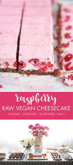 Raw Raspberry Vegan Cheesecake How to make a Raw Vegan Cheesecake that's cashew-based; dairy-free, gluten and grain free, vegan, paleo and sugar-free: INGREDIENTS FOR BASE : 1 cup pecans 1 cup walnuts 1 cup dried cranberries (sulphite free) up to 3 tabl Raw Vegan Cheesecake, Dairy Free Cheesecake, Low Carb Cheesecake Recipe, Raw Desserts, Paleo Dessert, Healthy Desserts, Raw Cake, Raspberry Recipes, Vegan Sweets