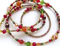 ELEGANT AUTUMN Beaded Eyeglass Chain Agate by CJsInspirations