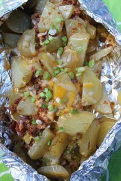 Camping offers a terrificescape from the weekday regimen. You could enhance your camping experience with cutting-edge camping recipe. A camping recipe could be as easy or as made complex as you want as there's no reason to be afraidcamping cooking. Campfire Potatoes, Campfire Food, Campfire Recipes, Potatoes On The Grill, Foil Pack Meals, Foil Dinners, Camping Meal Planning, Camping Cooking, Camping Dishes