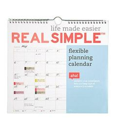 Flexible Planning Calendar | Whether you need a better filing system or a way to corral business cards, Real Simple has a product to solve your problem.