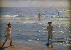 Peter Severin Krøyer - Badende Knaben - digitaler Kunstdruck, individuelle Kunstkarte günstig kaufen - auch auf Rechnung!