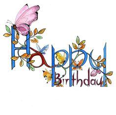 Happy Birthday Wishes Cards, Happy Birthday Pictures, Birthday Blessings, Birthday Wishes Quotes, Female Birthday Wishes, Birthday Clips, Birthdays, Butterfly Birthday, Purple Butterfly