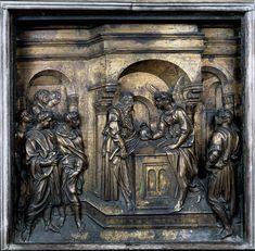 Jacopo della Quercia: Annuncio a Zaccaria della nascita di Giovanni Battista (1429). Battistero di San Giovanni, fonte battesimale. Foto dal sito http://www.viaesiena.it