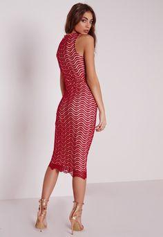 Keyhole Lace Midi Dress Red - Dresses - Midi Dresses - Lace Dresses - Missguided
