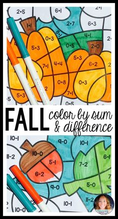 Help students practice addition and subtraction facts as they color these fun fall themed coloring sheets! Perfect for back to school, this is just what you need to give your kids an interactive morning warm up, math center, or a practice page. Easy and no prep!