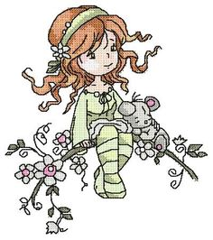 "Free embroidery design ""Girl on the branch""free embroidery designs Best Embroidery Machine, Free Machine Embroidery Designs, Embroidery Ideas, Frosch Illustration, Embroidery Techniques, Free Design, Cross Stitch Patterns, Design Girl, Angry Birds"