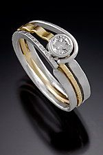 Platinum, Gold, & Stone Wedding Band by Connie Ulrich