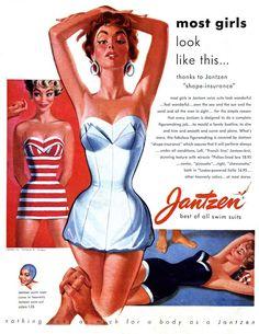 Jantzen swim bathing suits vintage ad illustrated by Pete Hawley