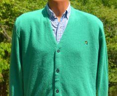 vintage 80s arnold palmer GOLF sweater v-neck cardigan preppy Medium Large teal greenby skippyhaha