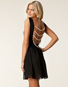 how to embellish a dress back with pearls | Rare London Pearl Back Skater Dress - Little Black Dresses hos ...