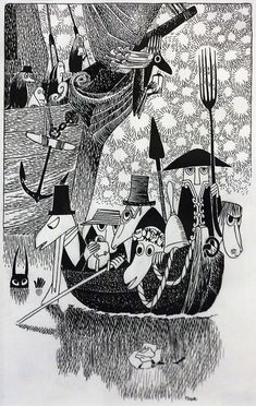 """The Hunting of the Snark"" by Lewis Carroll. Illustrated by Tove Jansson Illustrators, Black And White Illustration, Character Design, Drawings, Illustration Design, Tove Jansson, Artwork, Book Art, Prints"