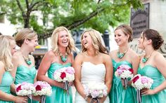 Bridesmaids in Aqua with pink and white bouquets|Photo by:  megmillerphotography.com