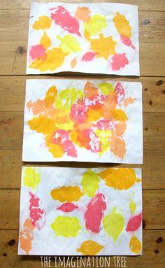 Autumn art activity for kids tissue paper bleeding leaves