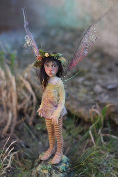 Pixie girl Ronia OOAK made by Tatjana Raum. $640.00, via Etsy.    Her little dolls are soooo stinkin cute! All handmade...