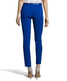 DIANE VON FURSTENBERG Cosmic Cobalt Stretch Crepe 'Cady' Flat Front Cropped Pants. #dianevonfurstenberg #cloth #pants, leggings & jumpsuits