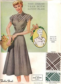 "Fashion Frocks ""Tiny Checks Team With Satiny Plaid"" ""It's a Dan River Fabric"" Plaid Fashion, 1940s Fashion, Fashion Fabric, Vintage Fashion, Fashion Women, 1950s Style, Moda Vintage, Vintage Mode, Vintage Outfits"