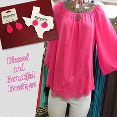 Think Pink! **Restocked**Pink & Mint tops available in Small-3XL. This adorable top just hit the floor {Top $35.99, Jeans $45, Pink Panache Necklace $49.99, Meccafox earrings: dangle $14, studs $11} #pink #summervibes #love #ootd #wiw #blessedandbeautiful #boutique