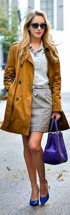Love the skirt! Don't like the color of the trench coat though