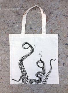 Poulpe tentacules Illustration  cabas  coton par CrawlspaceStudios
