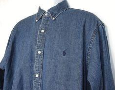 POLO RALPH LAUREN Mens Blue Jean Denim Large Yarmouth Oxford Shirt 16.5 x 32-33 #PoloRalphLauren #ButtonFront
