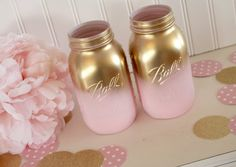 Pink and Gold Ombre mason jars.  This listing is for two quart size jars.  They have gone through a three step process which minimizes chipping.  These jars would be lovely as a centerpiece for your special event.  We offer matching milk bottles: https://www.etsy.com/listing/270552281/pink-and-gold-milk-bottle-setbaby-shower?ref=shop_home_active_1  Confetti is also available for purchase in our shop…