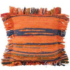"12"" Orange Decorative Chindi Throw Pillow Cushion Cover"