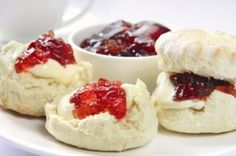 Buttermilk Scones  Ingredients :  440g self-raising flour, plus extra for dusting  2 tbsp caster sugar  Pinch salt  60g butter, chopped  380g buttermilk  Jam and whipped cream to serve