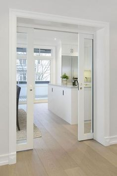 kitchen doors INTERIOR- The doors provide privacy and reduce noise between premises. If it comes to a smaller space, sliding doors are suitable option, because the opening and closing ta Doors Interior, House Design, New Homes, Interior Design, House Interior, House, Interior, Sliding Door Design, Home Decor