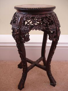 Chinese Carved Wood Table   Quality 19th Century Chinese Carved Hardwood  Marble Topped Table .