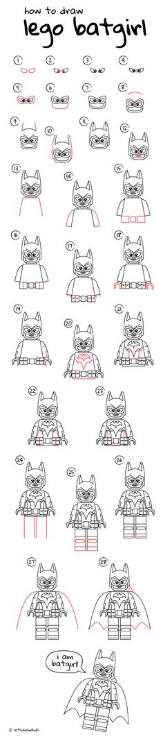 How to draw LEGO Batgirl. Easy drawing, step by step, perfect for kids! Let's draw kids. http://letsdrawkids.com/