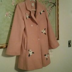 LC Runway Coat! NEW Light pink with pretty embroidered flowers. Double breasted and beautiful bell sleeves. Purchased a few months ago but lost 15 lbs. .My loss is your gain! Great for spring! Lauren Conrad  Jackets & Coats