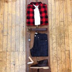 Men's Look No. 3: The Forester  Flannel: @woolrichinc Shirt: @velvettees Jeans: Unbranded by @nakedandfamousdenim  Boots: @clarksshoes Watch: @timex Belt: #Bisondesign  Photo credit: @bivouacannarbor