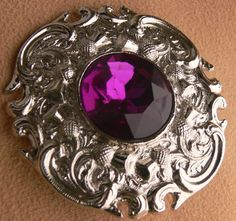 Silvertone brooch with purple stone by grannyclosetjunk on Etsy, $15.00