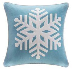 Alps Aqua Blue Ice Snowflake Throw Pillow