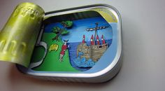 Paper diorama in a sardines tin. Repurpose, Reuse, Shadow Box Art, Color Test, Find Objects, Assemblage Art, Tins, Murals, Art Dolls