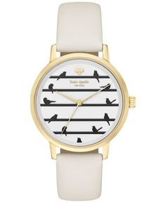 Birds of a feather flock to this Metro watch by kate spade new york, showcasing unique blackbird markers. | White leather strap | Round gold-tone stainless steel case, 34mm | White dial with blackbird
