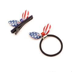 Set of 2 Rabbit Ears Acrylic Hair Rope Ring Clip with The Stars and Stripes ** Click image to read more details. #haircare