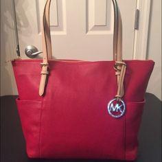 Brand new Michael Kors handbag Red, brand new Michael Kors handbag, leather, perfect color for spring and summer Michael Kors Bags Satchels