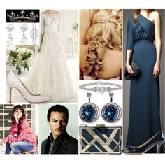Flashback #19: Attending the wedding of Emily Blyton and Frederick Marquis, Earl of Woolton as her maid of honor (2009) by innominata on Polyvore featuring L.K.Bennett, Salvatore Ferragamo and Elie Saab