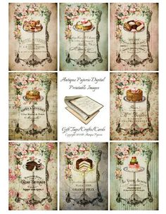 DELICIOUS PASTRIES French Desserts Digital Collage Images - Digital Printable Sheet - Victorian 2.5 x 3.5 atc Antique Cakes
