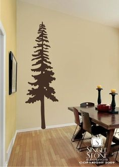 Pine Tree Wall Decal  Vinyl Wall Stickers by singlestonestudios