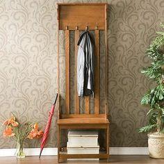 Wooden Oak Entryway Hall Coat Rack Tree Storage Bench Furniture Narrow Coats | eBay