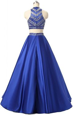 Himoda Women's Two Pieces Satin Sequined Prom Dresses Beaded Evening Gowns, Evening Dresses, Prom Dresses, Formal Dresses, 2 Piece Prom Dress, Prom Outfits, Sequin Dress, Dress Brands, Strapless Dress Formal