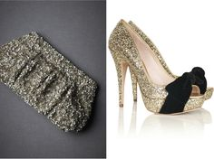 Sequin clutch and shoes