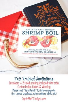 Low Country Crab Or Shrimp Boil Party Invitation
