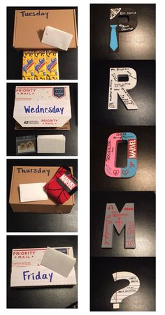 "My promposal. P is for Prince Charming. R is for running jokes. O is for opposites attract. M is for musical couple. Four days before the scavenger hunt (to find the PROM letters) he will get a sweet note and a gift about the four topics the letters are based on. At the end of the scavenger hunt he will find me with the question mark. It is painted to look like notebook paper and has the same words he used to ask me to be his girlfriend. For more pins like this follow my ""Creative Love…"