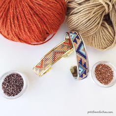 Miyuki delica beads handwoven cuff bracelet by PetitBoutdeChouHK Bead Loom Patterns, Beading Patterns, Beading Ideas, Leather Bracelet Tutorial, Bead Loom Bracelets, Beading Projects, Diy Projects, Bijoux Diy, Loom Beading